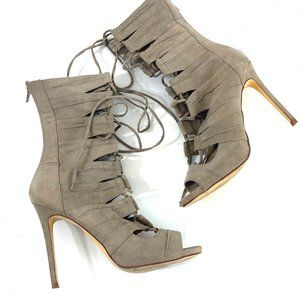 Liliana Gladiator Lace Up Heels faux suede pumps